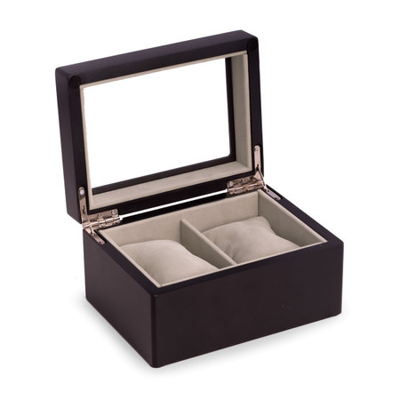 Personalized Black Wood 2 Watch Box with Glass Top