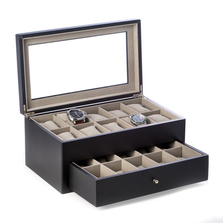 Personalized Matte Black Wood 20 Watch Box with Glass Top & Drawer