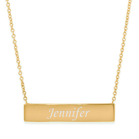 29efdc9cff5dc Sterling Silver Gold Plated Small Name Bar Pendant