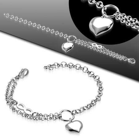 Stainless Steel Love Heart Charm Infinity Link Chain Bracelet