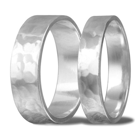 90de9ba5d8 Personalized His & Hers Sterling Silver Hand Hammered Ring Band ...