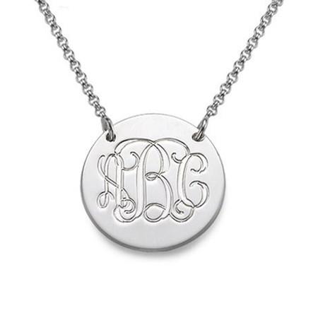 Genuine Sterling Silver  Round Charm Monogram