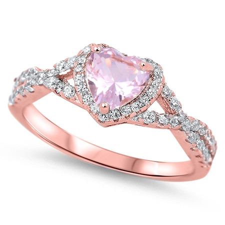 697302bb9f Personalized Rose Gold Plated Sterling Silver with Pink Heart CZ ...