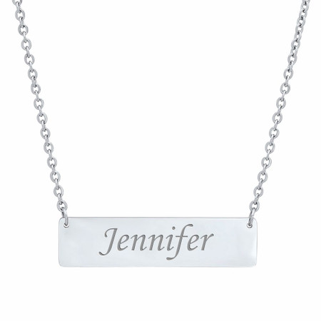 Personalized Stainless Steel Name Bar Necklace - ForeverGifts.com 79eb6e97cb