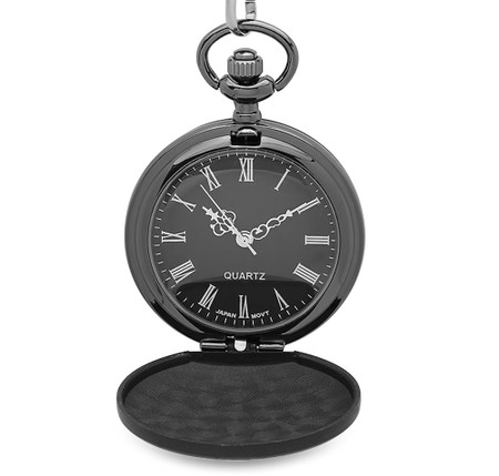 Personalized All Black Matt Finish Small Pocket Watch