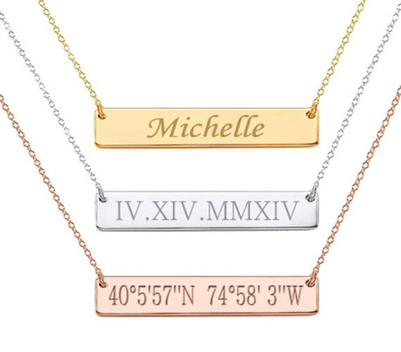 Quality.A Sterling Silver Necklace Custom Name Bar Pendant Necklace Jewelry for Women