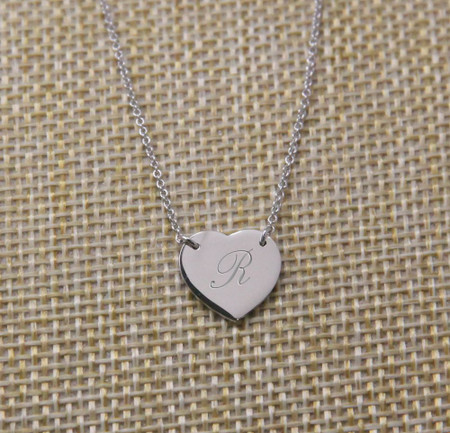 Personalized Sterling Silver Small Heart Charm Pendant