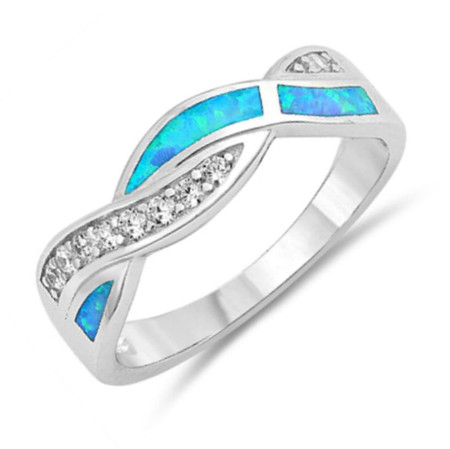 Promise Ring Infinity Ring,Blue Lab Opal Ring Lab Opal CZ Ring Sterling Silver Ring with Lab Opal  Ring Infinity with Cubic Zirconia Ring
