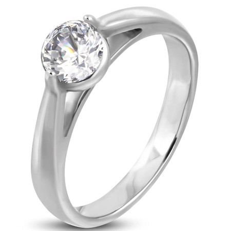 5d59bbf3fb ... Personalized Stainless Steel Compression-Set Engagement Ring. Promise  Rings