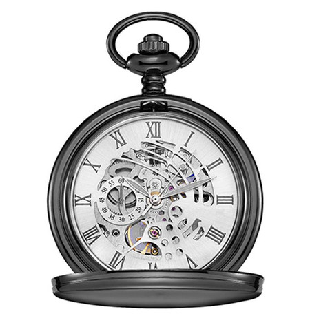 9084431a318b8 ... Personalized Luxury Smooth Black Pocket Watch with Roman Numeral. Personalized  Pocket Watch