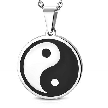9af579a75 Personalized Stainless Steel 2-Tone Yin-Yang Pendant with Chain ...