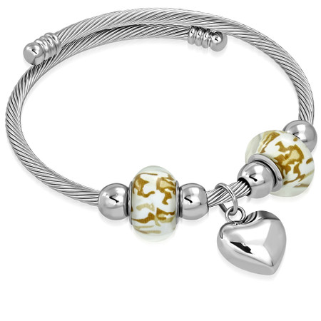 9005b9ee6 Personalized Stainless Steel Twisted Cable heart Charm Pandora ...