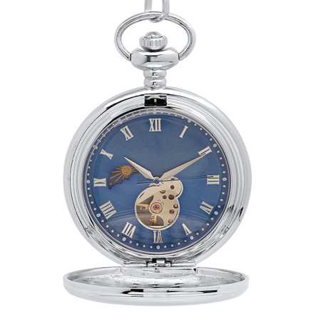 b4af13d838675 Personalized Blue Moon Phase Dial Mechanical Pocket Watch ...