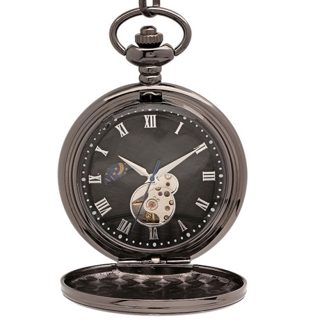 84e6e6b9654cf ... Mechanical Luxury Smooth Black Pocket Watch with Roman Numerals. Personalized  Pocket Watch
