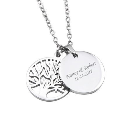 f03419de218b9 Personalized Stainless Steel Round Charm Pendant with Tree of Life Charm