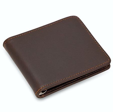Men Leather Card Holder Leather Wallet Men Leather Wallet Personalized Gift Personalized Dark Brown Leather Magnetic Mechanical Wallet