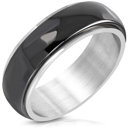 60d9da914ce 8mm Stainless Steel with Black Ceramic Half Round Band Ring ...