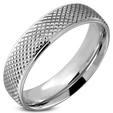 1b176a9482 6mm Personalized Stainless Steel Checker Grid Comfort Fit Band Ring ...
