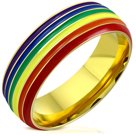e7c3683c7a543 Stainless Steel Rainbow Enamel Gay Pride Flag Comfort Fit Band Ring