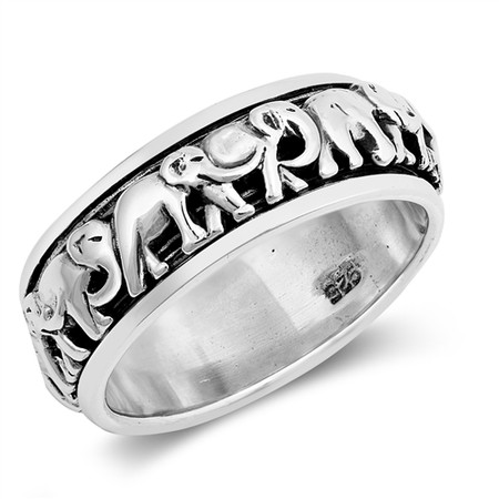 3105e5b22b22c 8mm Personalized Sterling Silver With Elephant Symbol Spinner Ring