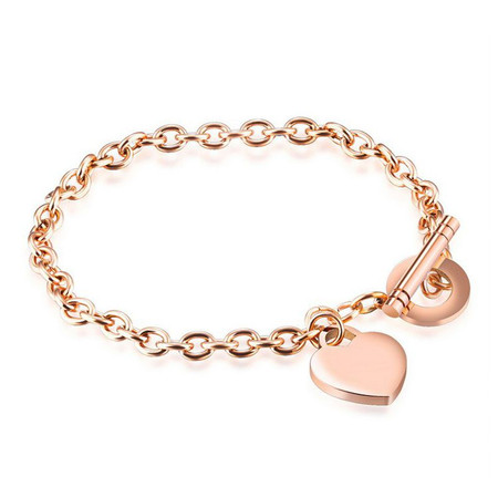 Personalized Stainless Steel Rose Gold Color Heart Charm Bracelet