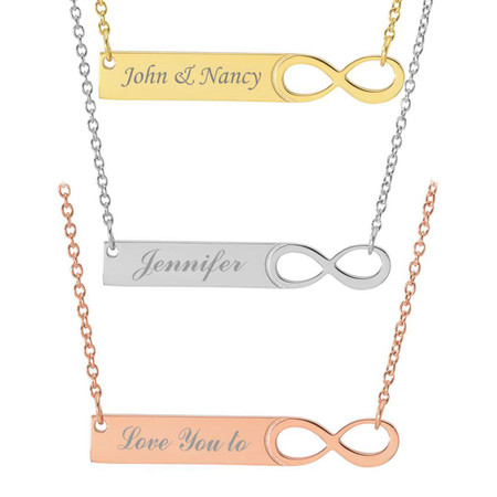 Personalized Stainless Steel Custom Infinity Name Bar Necklace