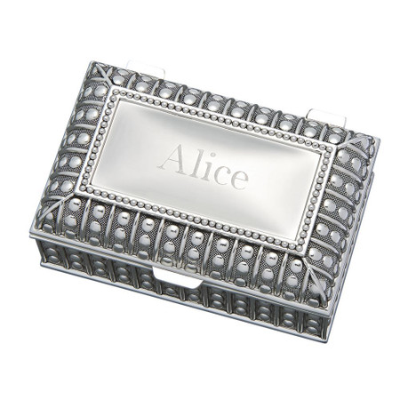 Personalized Rectangular Jewelry Box With Beaded Antique Design