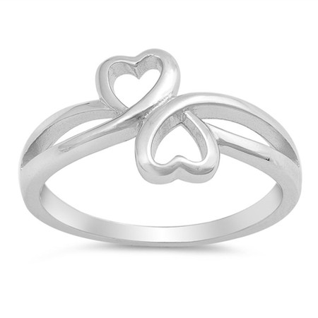 dfc3384e47 Personalized Sterling Silver Double Heart Promise Ring ...