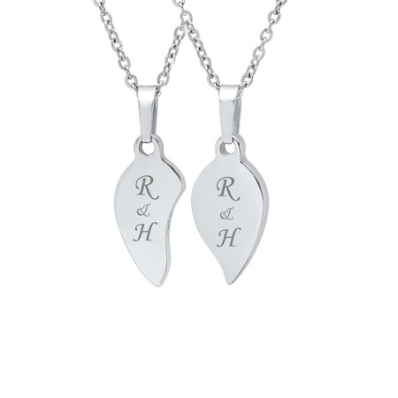 Personalized Couples Split heart Stainless Steel Pendant with Chain ... 461edf5de92c5