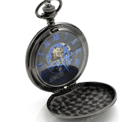 e069fba92f533 ... Smooth Black Mechanical Pocket Watch with Blue Roman Numerals. Engraved  Pocket Watch