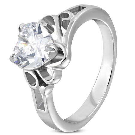 Stainless Steel Gold Color Prong-Set Solitaire Engagement Ring with Clear CZ