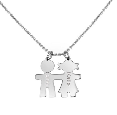 3d1acf6da711f Personalized Sterling Silver Baby Boy and Baby Girl Necklace