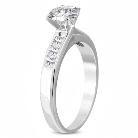 f5ae17769bece Stainless Steel Prong-Set Round CZ Engagement Wedding Band Ring