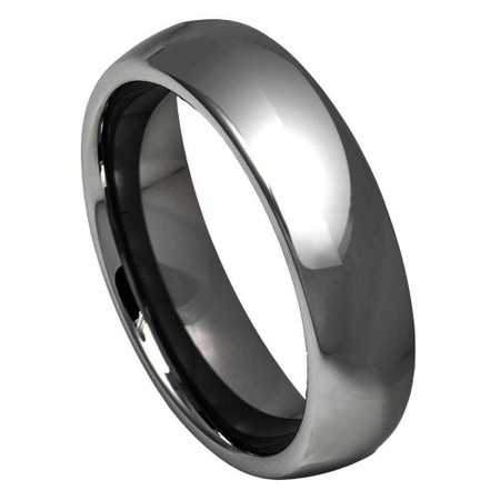 Bridal Titanium Ridged Edge Black Enamel Braid Design 6mm Polished Band