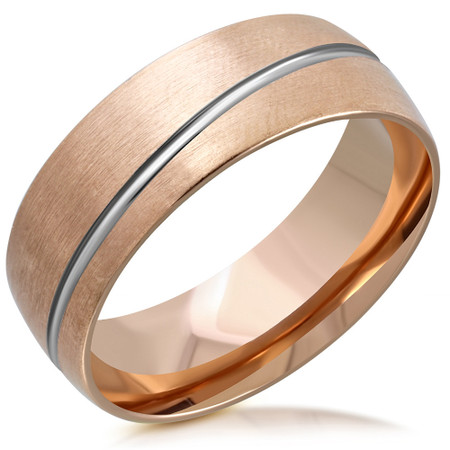 25b0655afe ... 8mm Stainless Steel Rose Gold Pink Color Comfort Fit Band Ring. Personalized  Ring