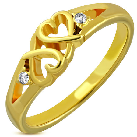 d157a23868008 Personalized Stainless Steel Gold Color Plated Double Heart Fancy Ring