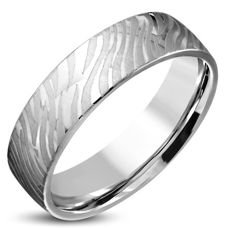 Stainless Steel 2 Color Sandblasted Stripe Comfort Fit Half-Round Wedding Band Ring
