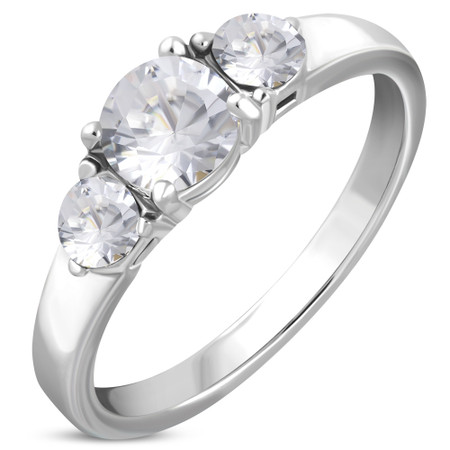 Personalized Stainless Steel Prong Set 3-Stone Engagement Ring