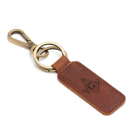 Personalized Genuine Leather Rectangle Masonic Symbol Keychain  Free Engraving