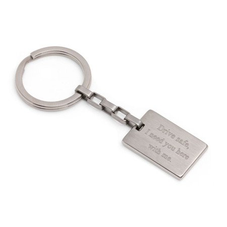 Personalized Quality Stainless Steel Rectangle Keychain - Free Engraving