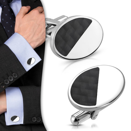 Quality Stainless Steel Oval Cufflinks W/ Black Carbon Fiber- Free Engraving