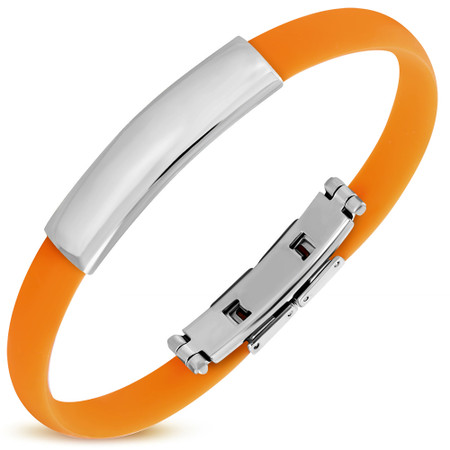 Personalized Quality Orange Color Rubber  Bracelet with Stainless Steel Plate- Free Engraving