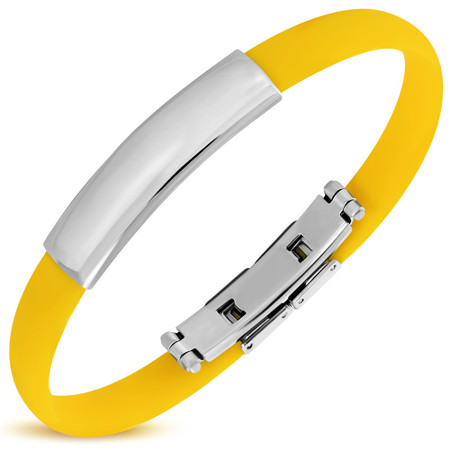 Personalized Quality Yellow Color Rubber Bracelet with Stainless Steel Plate