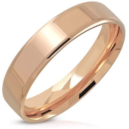 5mm Rose Gold Color Plated Stainless Steel Comfort Fit Flat Band Ring