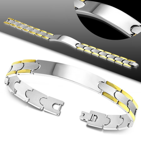 10mm Stainless Steel  2-Tone Panther Link Bracelet- Free Engraving