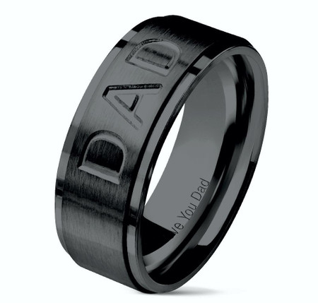 """DAD Deep Cut Center and """"Love You Dad"""" Engraved Inside of Ring Stepped Edges Black IP Stainless Steel Ring"""