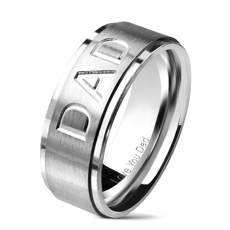 "DAD Deep Cut Center and ""Love You Dad"" Engraved Inside of Ring Stepped Edges Stainless Steel Ring"