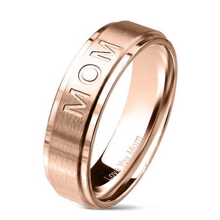 """ MOM"" Deep Cut Center and ""Love You Mom"" Engraved Inside of Ring Stepped Edges Stainless Steel Rose Gold Color Ring"