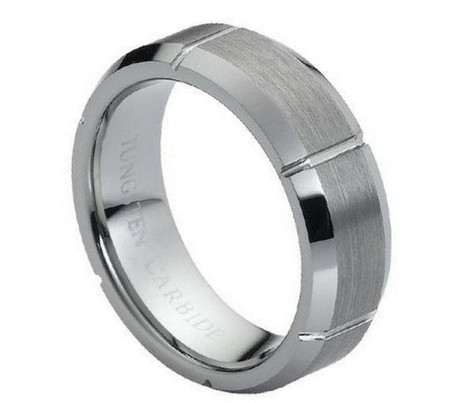 Tungsten Carbide Ring With Multiple Vertical Grooves 7mm
