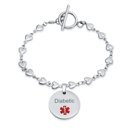 Medical Alert Bracelet >> Personalized Stainless Steel Medical Id Bracelet With Heart